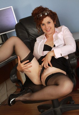Office Hairy Mature Pantyhose Hairy 17